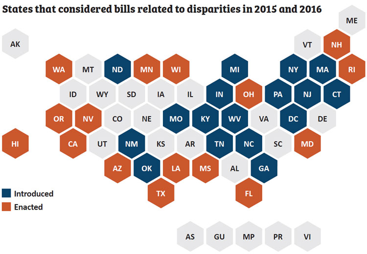 U.S. map of states that considered health disparity bills in 2015 and 2016.