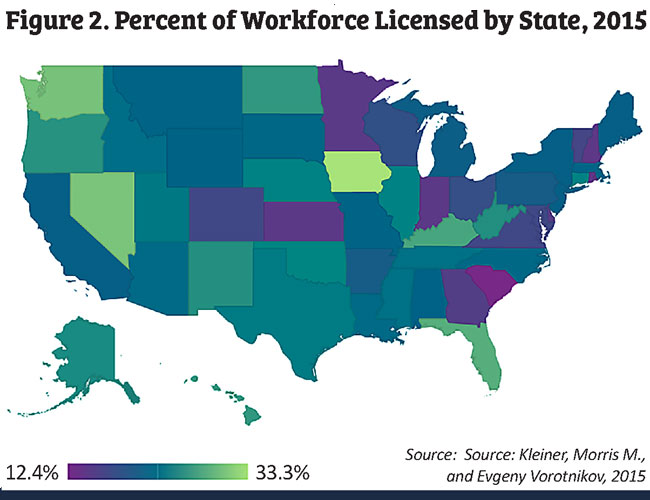 Map showing percent of workforce licensed by state