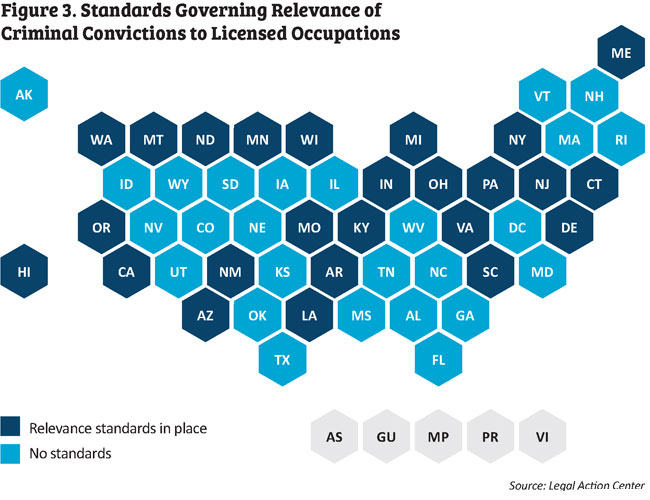 Map showing Standards Governing Relevance of Criminal Convictions to Licensed Occupations
