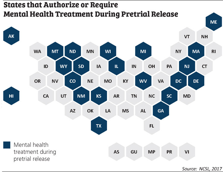 MAp showing states that authorize or require mental health treatment during pretrial release