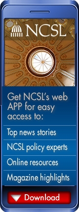 Graphic promoting NCSL's mobile app for members