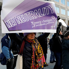 Net neutrality advocates rallying in front of the Federal Communications Commission in 2017 Credit Yuri Gripas/Reuters