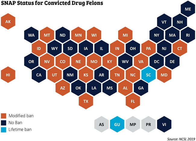 snap status for convicted drug felons 50-state map
