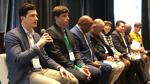 From left: Greg Glod, criminal justice fellow, Americans for Prosperity; Ronald J. Lampard, senior director, Criminal Justice Task Force and Civil Justice Task Force, ALEC; South Carolina Senator Gerald Malloy, vice chair, NCSL Law, Criminal Justice and Public Safety Committee (LCJPS); Montana Representative Barry Usher, vice chair, NCSL LCJPS; Hawaii Senator Donna Kim, chair of board of directors, National Foundation for Women Legislators; Hawaii Representative Kyle Yamashita, chair, National Asian Pacific American Caucus of State Legislators; Georgia Representative Billy Mitchell, president-elect, National Black Caucus of State Legislators; Kansas Representative Ponka-We Victors, chair, National Caucus of Native American State Legislators; New Jersey Senator Nellie Pou, president-elect, National Hispanic Caucus of State Legislators.