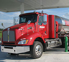 This milk transport truck fuels up at a renewable natural gas station. (Photo from CNG)