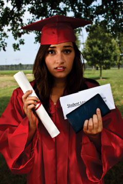 student holding diploma and checkbook