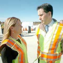 Representative Loudenbeck with Governor Scott Walker on the site of the I-39/90 project