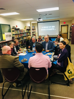 Members of the NCSL Student-Centered Learning Commission, Utah Senator Ann Millner of Utah, New Hampshire Senator Jay Kahn, Maine Representative Richard Farnsworth, and Washington Representative Sharon Tomiko Santos, talking with teachers at Parker-Varney Elementary School.