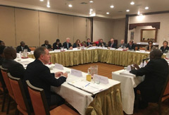 Delegates in roundtable discussion