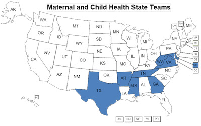 Maternal and Child Health State map