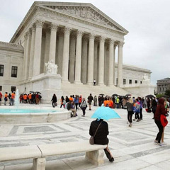 People wait in line to enter the US Supreme Court, on April 19, 2017 in Washington, DC. Mark Wilson Getty Images  y