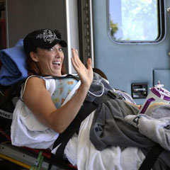 Amy Van Dyken-Rouen arrives at Craig Hospital in Englewood where she is undergoing rehabilitation therapy. Photo: John Leyba, The Denver Post