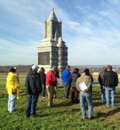 Lawmakers tour the Gettysburg battlefield.