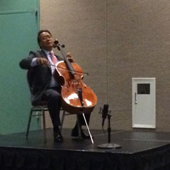 Yo-Yo Ma performs a Bach Prelude during the Arts in Education and Workforce session.