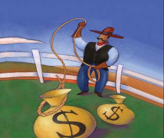 Illustration of cowboy with bags of money