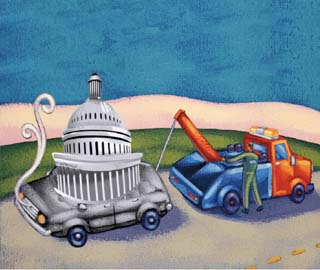 Illustration of a tow truck and a capitol building