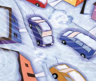 Illustration of cars in snow