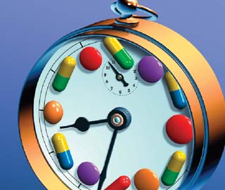 Illustration of pills and a clock