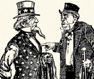 Old-fashioned drawing of Uncle Sam