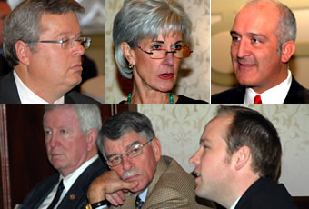 Photos of legislative leaders and administration officials