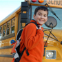 Kid with schoool bus