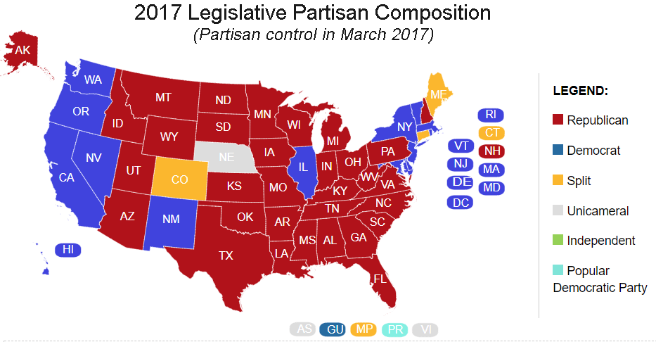 Political Parties By State Map.State Partisan Composition