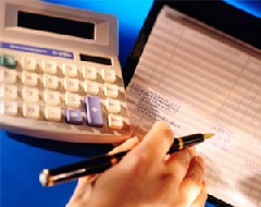 Checkbook and calculator