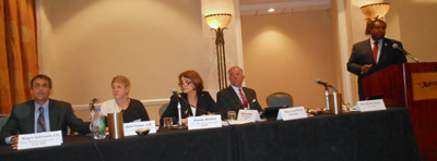 Speakers at Task Force from the Provider Panel: NACHC, AHA and AHIP; Co-chairs Rep Wren and Asm. Conaway (right)