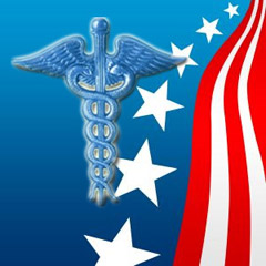 Medical logo with flag photo (caduceus)