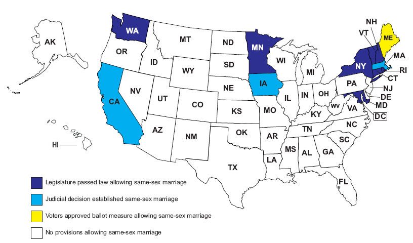 States Allowing Same Sex Marriages 4