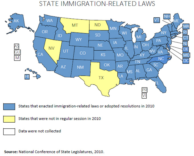 State Immigration Laws Map