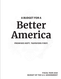 Cover of president's FY 2020 budget
