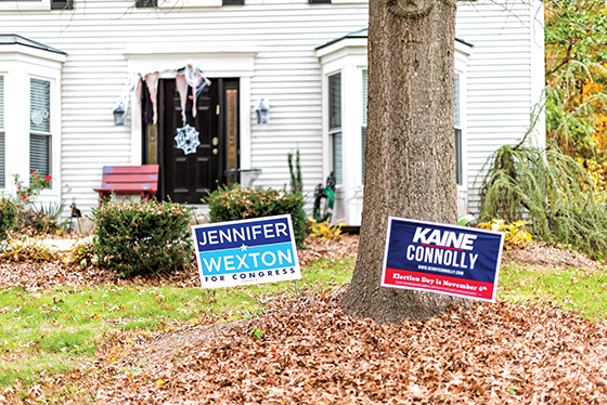 Political campaign yard signs in front of a white clapboard sided house.