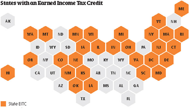 Map shows U.S. states with earned income tax credit