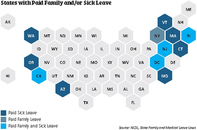 Map shows states with paid family leave