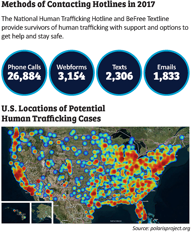Human Trafficking Contacting Hotlines Map