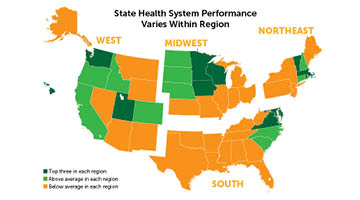 Map showing health system performance