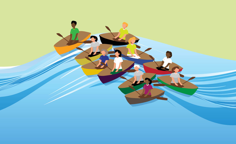 Illustration of women in rowboats