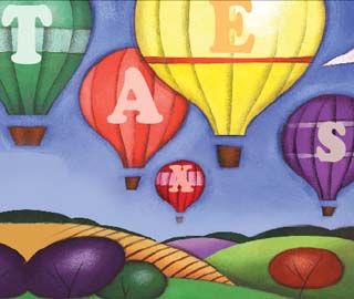 Illustration of hot-air balloons