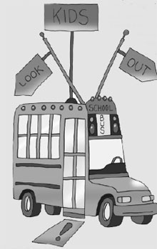 Illustration of a school bus with signs