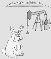 Illustration of a rabbit and an oil well