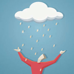 Illustration of a man looking at a cloud
