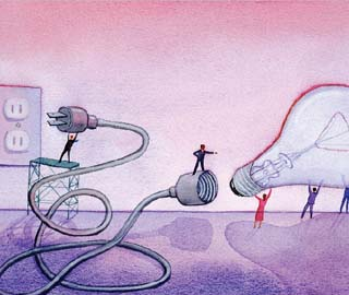 Illustration of plugging in a light bulb