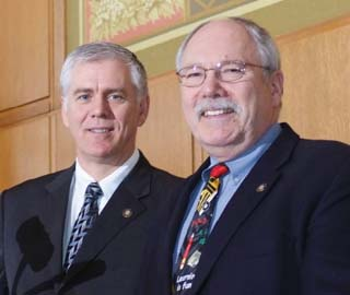 Representatives Bruce Hanna, left, and Arnie Roblan