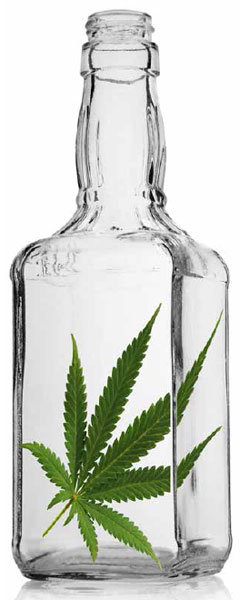 Illustration of bottle with marijuana leaf inside