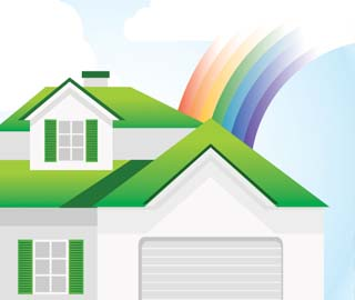 Illustration of home with rainbow