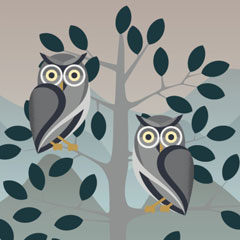 Illustration of owls in a tree