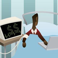Illustration of patient hooked to money monitor