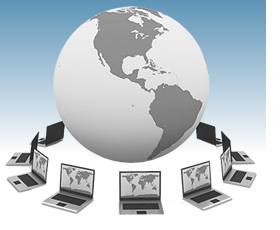 Image symbolizing webinar--globe surrounded by computers