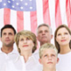 Picture of people in front of American flag